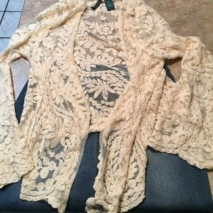 MASCARA Creme Colored Crocheted Cardigan XL